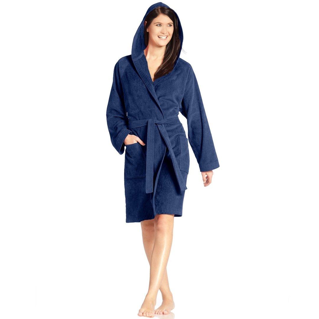 vossen texas bademantel mit kapuze kurz blau textil bauer. Black Bedroom Furniture Sets. Home Design Ideas