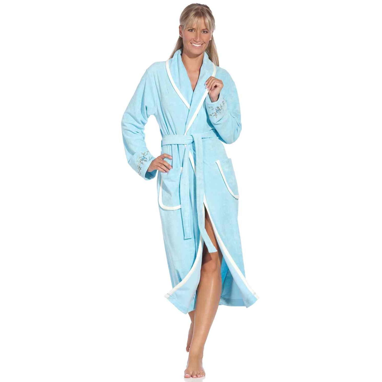 vossen corinne damen schalkragen bademantel powder blue tb. Black Bedroom Furniture Sets. Home Design Ideas